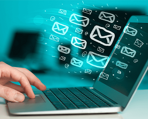 email marketing on laptop
